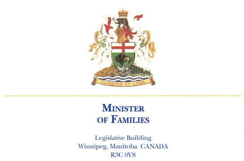 Manitoba Minister of Families Letterhead